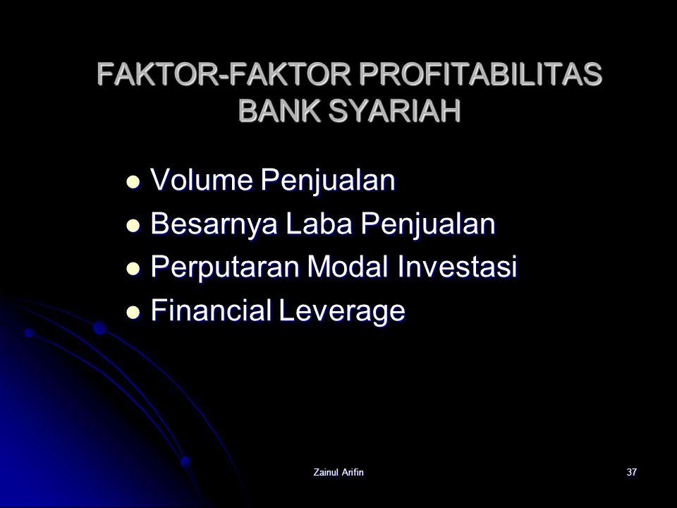 Zainul Arifin37 FAKTOR-FAKTOR PROFITABILITAS BANK SYARIAH Volume Penjualan Volume Penjualan Besarnya Laba Penjualan Besarnya Laba Penjualan Perputaran
