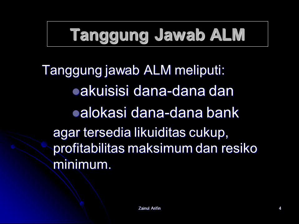 Zainul Arifin4 Tanggung Jawab ALM Tanggung jawab ALM meliputi: akuisisi dana-dana dan akuisisi dana-dana dan alokasi dana-dana bank alokasi dana-dana