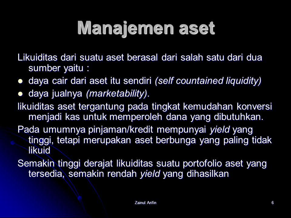 Zainul Arifin6 Manajemen aset Likuiditas dari suatu aset berasal dari salah satu dari dua sumber yaitu : daya cair dari aset itu sendiri (self countai
