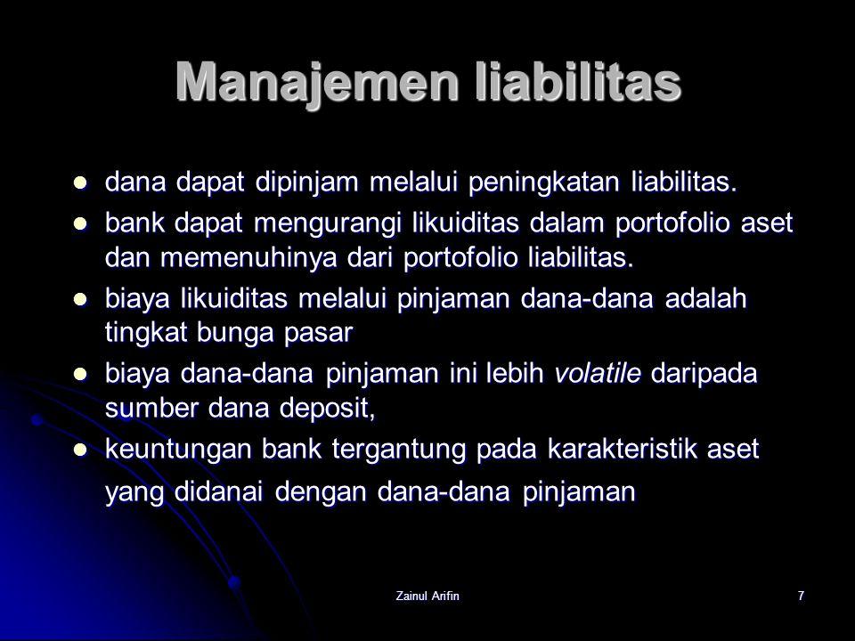 Zainul Arifin8 Manajemen liabilitas Untuk memastikan profitabilitas dan meminimalkan resiko, bank harus mengembangkan strategi pengelolaan interest margin.