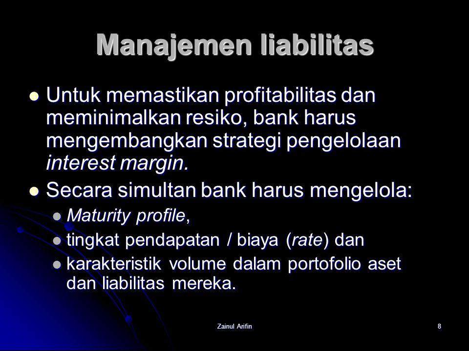 Zainul Arifin8 Manajemen liabilitas Untuk memastikan profitabilitas dan meminimalkan resiko, bank harus mengembangkan strategi pengelolaan interest ma
