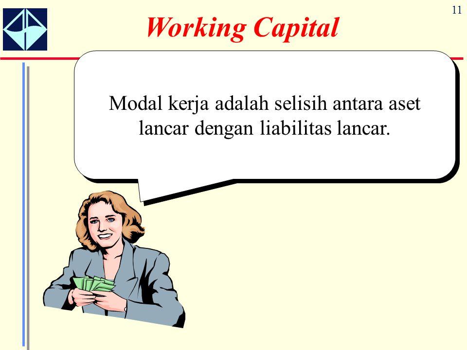 11 Working Capital Modal kerja adalah selisih antara aset lancar dengan liabilitas lancar.