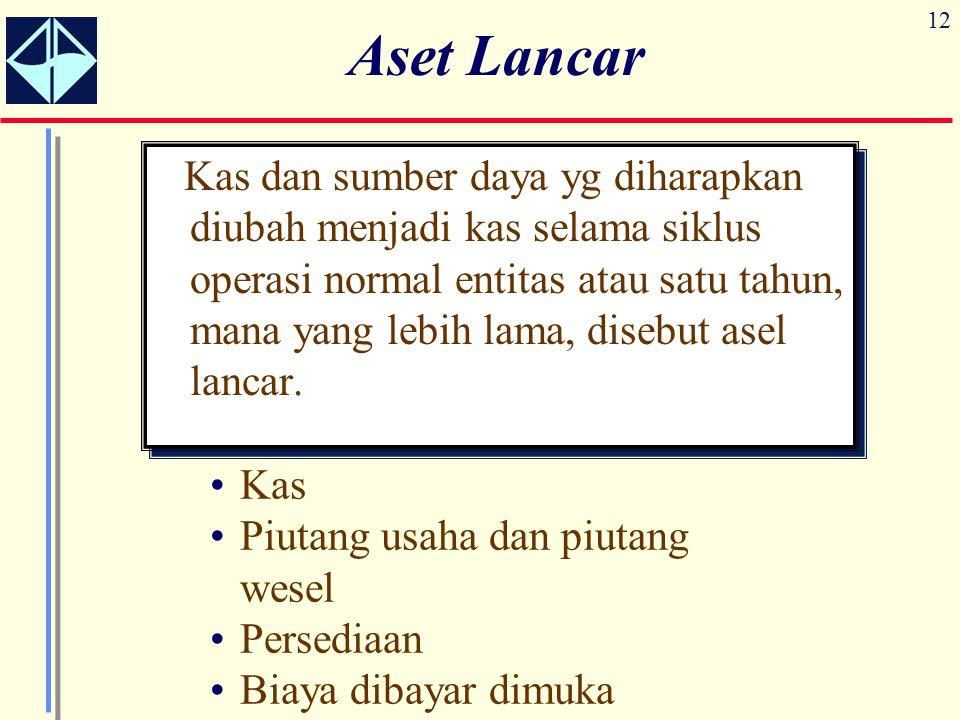 12 Aset Lancar Kas dan sumber daya yg diharapkan diubah menjadi kas selama siklus operasi normal entitas atau satu tahun, mana yang lebih lama, disebut asel lancar.
