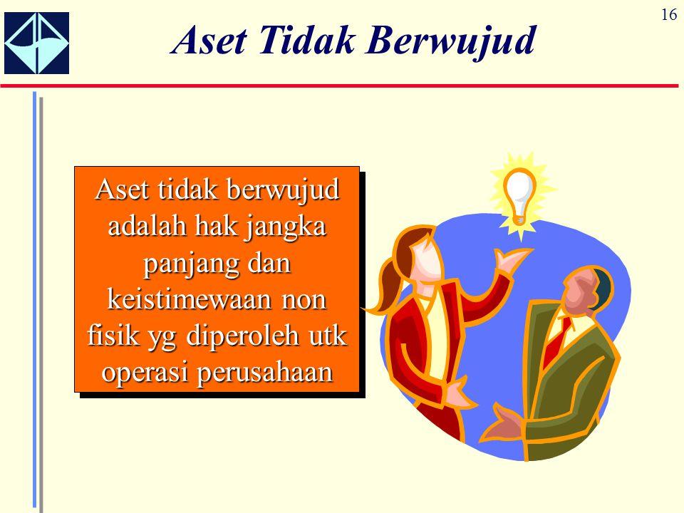 16 Aset Tidak Berwujud Aset tidak berwujud adalah hak jangka panjang dan keistimewaan non fisik yg diperoleh utk operasi perusahaan