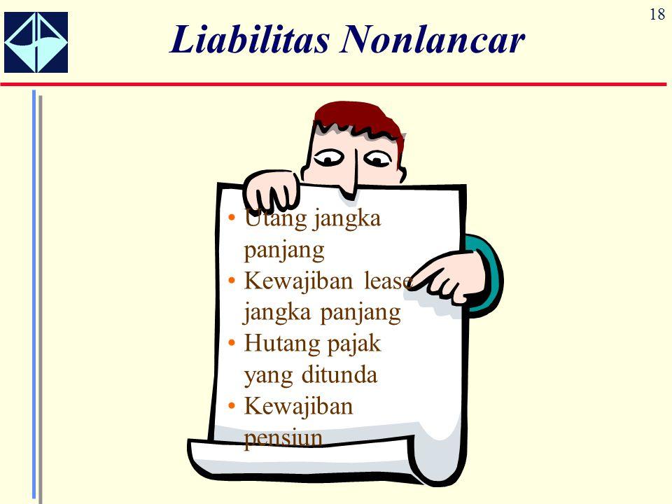18 Liabilitas Nonlancar Utang jangka panjang Kewajiban lease jangka panjang Hutang pajak yang ditunda Kewajiban pensiun