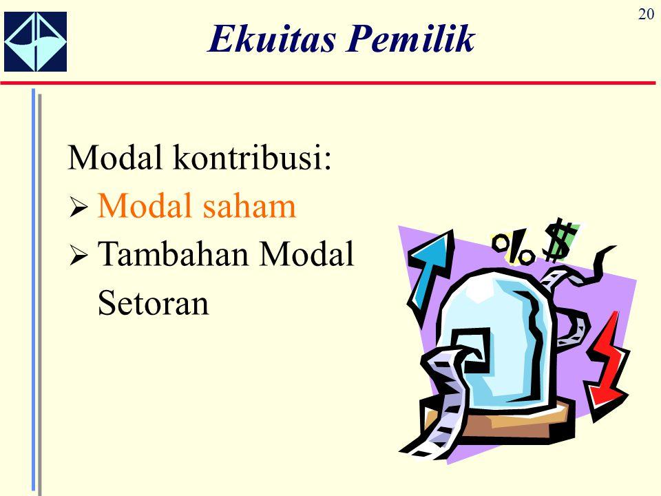 20 Ekuitas Pemilik Modal kontribusi:  Modal saham  Tambahan Modal Setoran