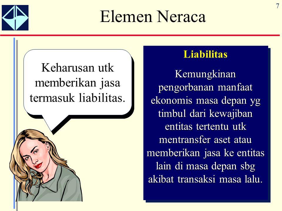 7 Elemen Neraca Keharusan utk memberikan jasa termasuk liabilitas.