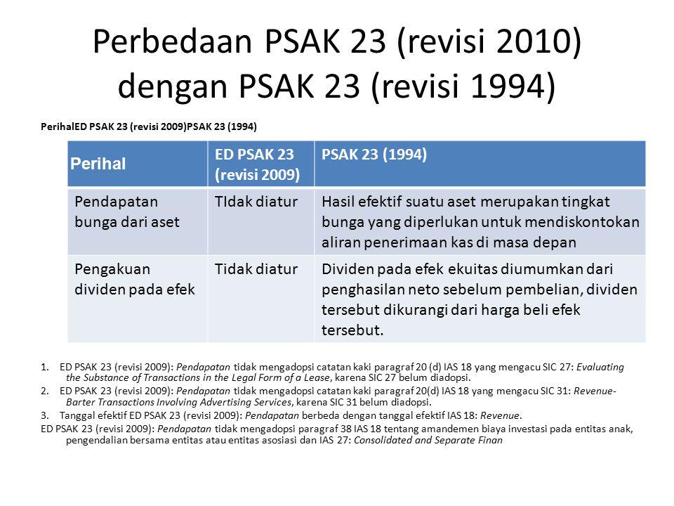 Perbedaan PSAK 23 (revisi 2010) dengan PSAK 23 (revisi 1994) PerihalED PSAK 23 (revisi 2009)PSAK 23 (1994) 1. ED PSAK 23 (revisi 2009): Pendapatan tid