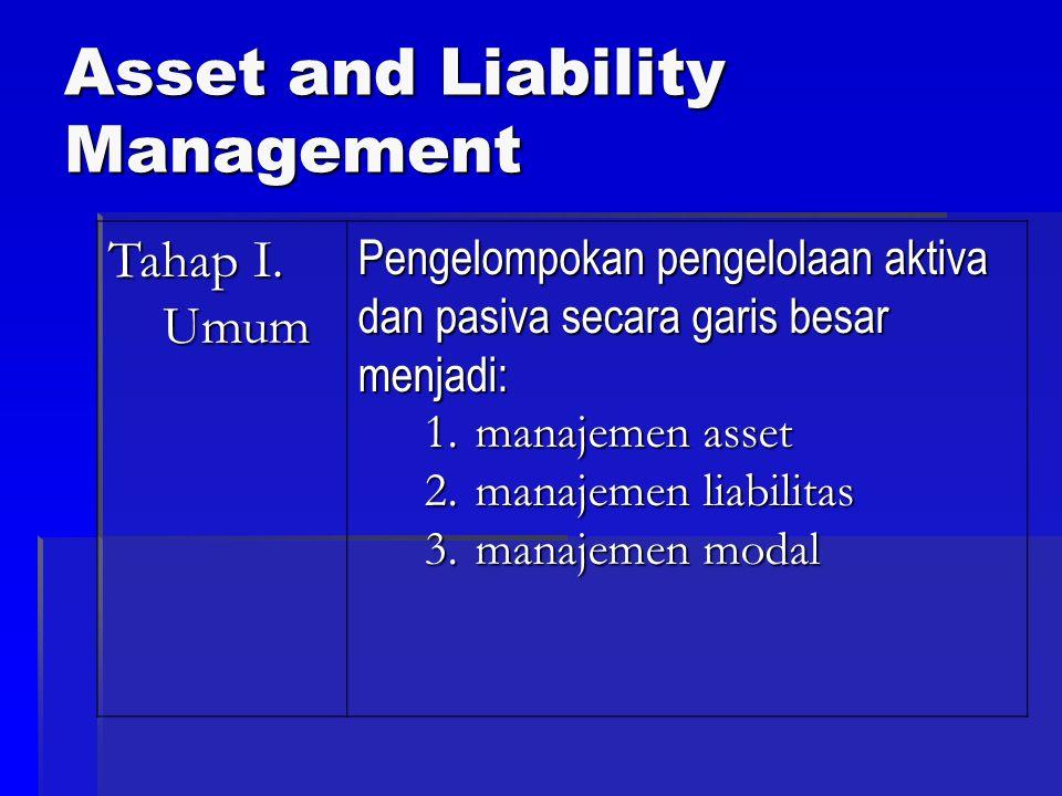 Asset and Liability Management Tahap I. Umum Pengelompokan pengelolaan aktiva dan pasiva secara garis besar menjadi: 1.manajemen asset 2.manajemen lia
