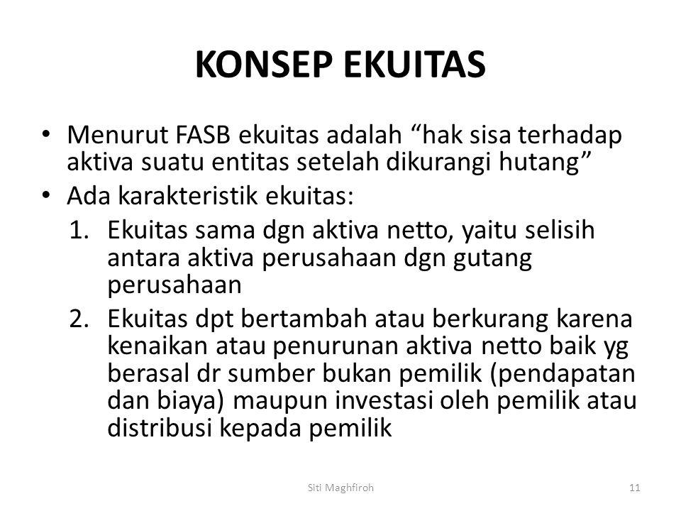 """KONSEP EKUITAS Menurut FASB ekuitas adalah """"hak sisa terhadap aktiva suatu entitas setelah dikurangi hutang"""" Ada karakteristik ekuitas: 1.Ekuitas sama"""