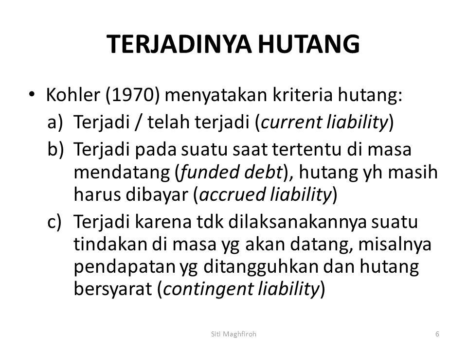 TERJADINYA HUTANG Kohler (1970) menyatakan kriteria hutang: a)Terjadi / telah terjadi (current liability) b)Terjadi pada suatu saat tertentu di masa m