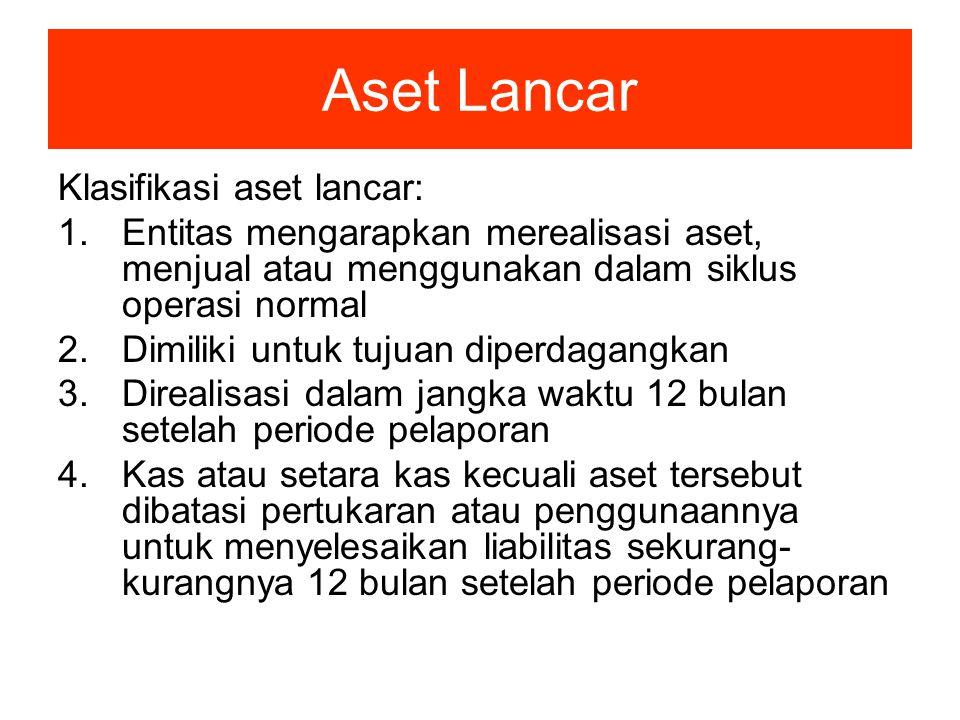 Aset Lancar Klasifikasi aset lancar: 1.Entitas mengarapkan merealisasi aset, menjual atau menggunakan dalam siklus operasi normal 2.Dimiliki untuk tuj