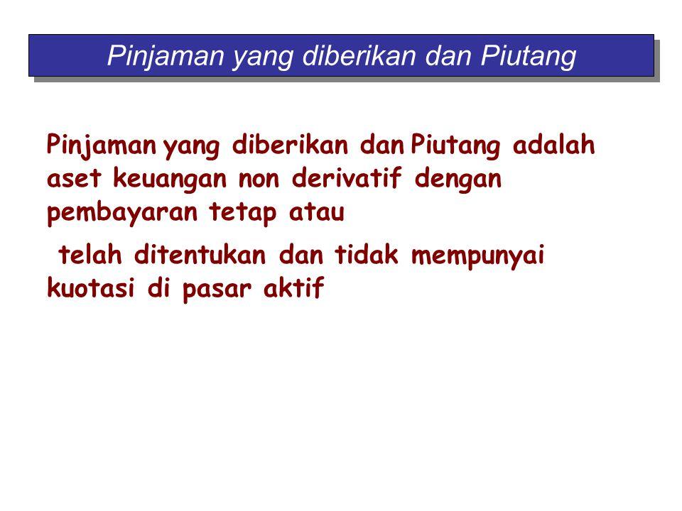 Pinjaman yang diberikan dan Piutang adalah aset keuangan non derivatif dengan pembayaran tetap atau telah ditentukan dan tidak mempunyai kuotasi di pa