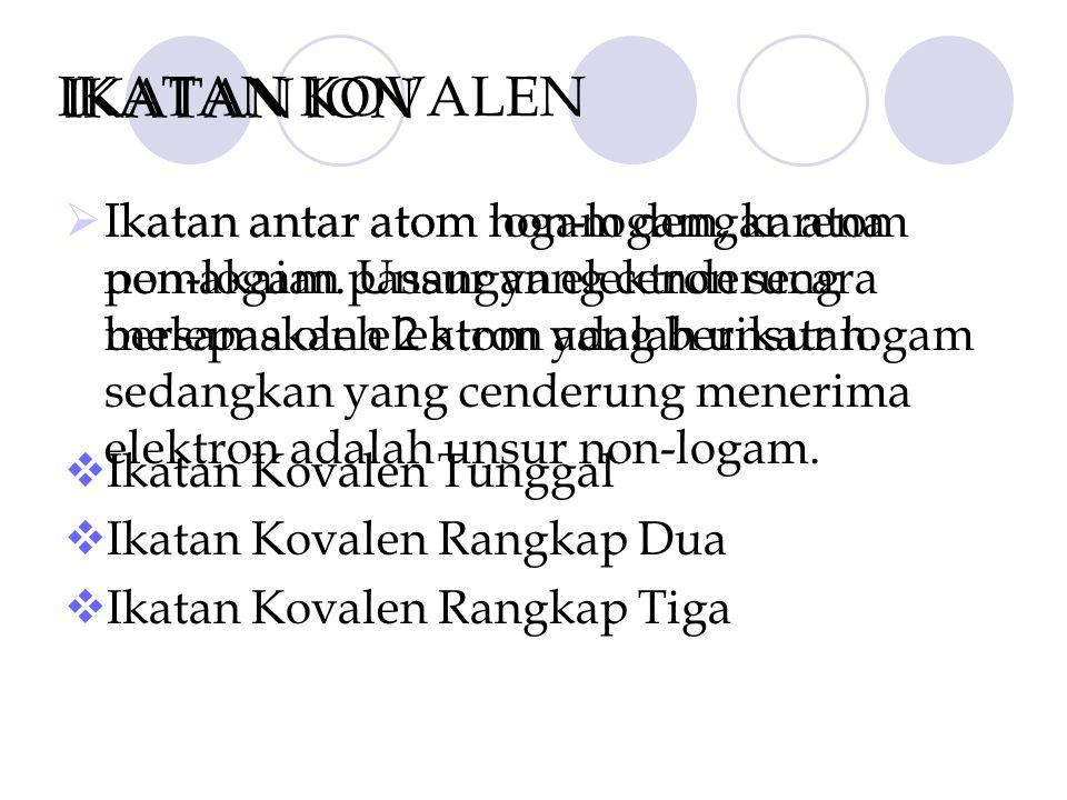 IKATAN ION IIkatan antar atom logam dengan atom non-logam. Unsur yang cenderung melepaskan elektron adalah unsur logam sedangkan yang cenderung mene