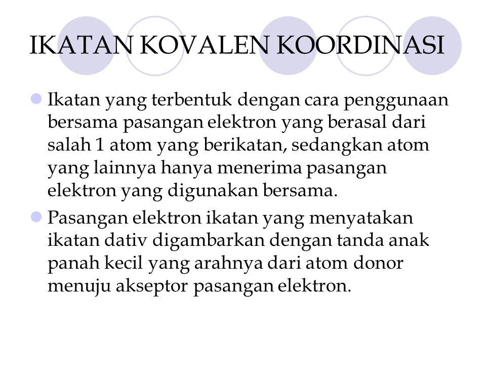 POLARISASI IKATAN KOVALEN Ikatan Kovalen Polar Suatu Ikatan kovalen disebut polar, jika Pasangan Elektron Ikatan (PEI) tertarik lebih kuat ke salah 1 atom.