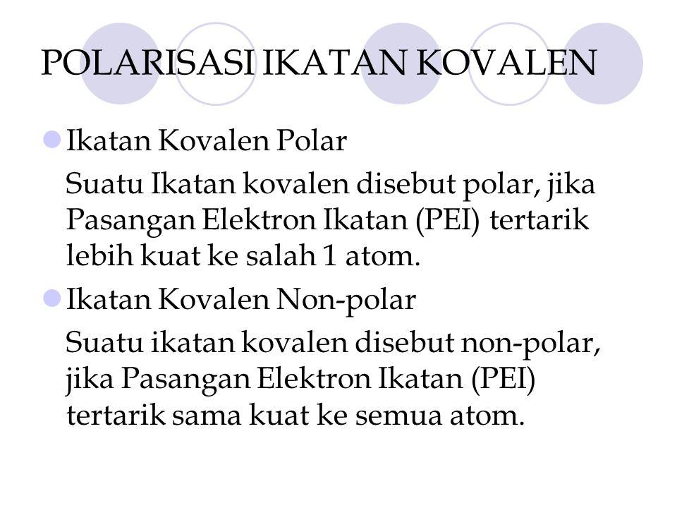 POLARISASI IKATAN KOVALEN Ikatan Kovalen Polar Suatu Ikatan kovalen disebut polar, jika Pasangan Elektron Ikatan (PEI) tertarik lebih kuat ke salah 1