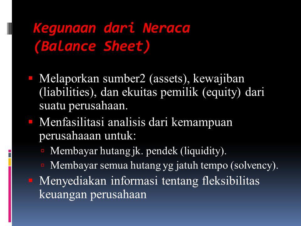 Kegunaan dari Neraca (Balance Sheet)  Melaporkan sumber2 (assets), kewajiban (liabilities), dan ekuitas pemilik (equity) dari suatu perusahaan.  Men