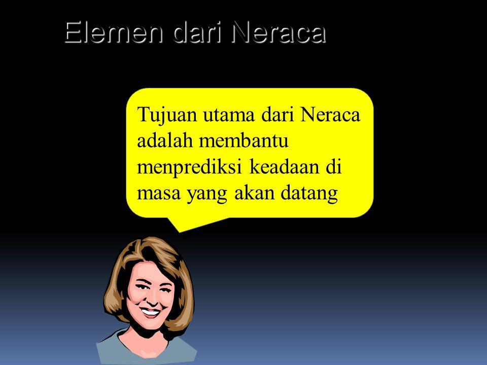 Elemen dari Neraca Tujuan utama dari Neraca adalah membantu menprediksi keadaan di masa yang akan datang