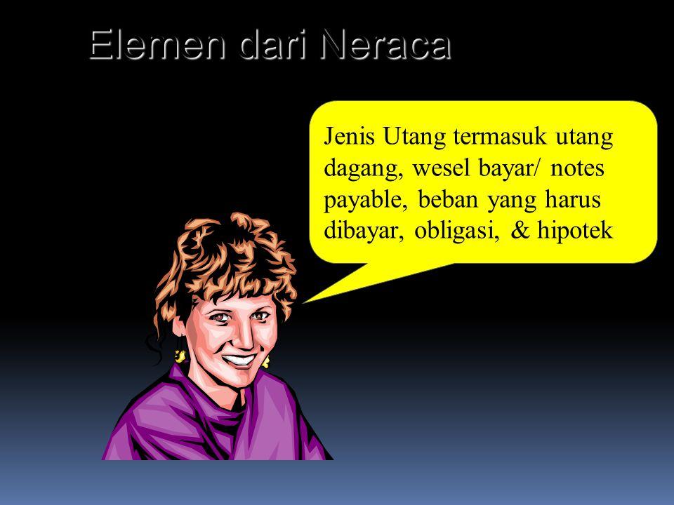 Jenis Utang termasuk utang dagang, wesel bayar/ notes payable, beban yang harus dibayar, obligasi, & hipotek Elemen dari Neraca