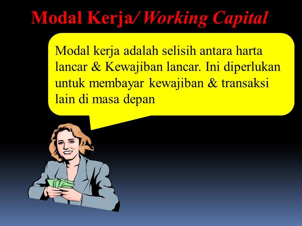 Modal Kerja/ Working Capital Modal kerja adalah selisih antara harta lancar & Kewajiban lancar. Ini diperlukan untuk membayar kewajiban & transaksi la