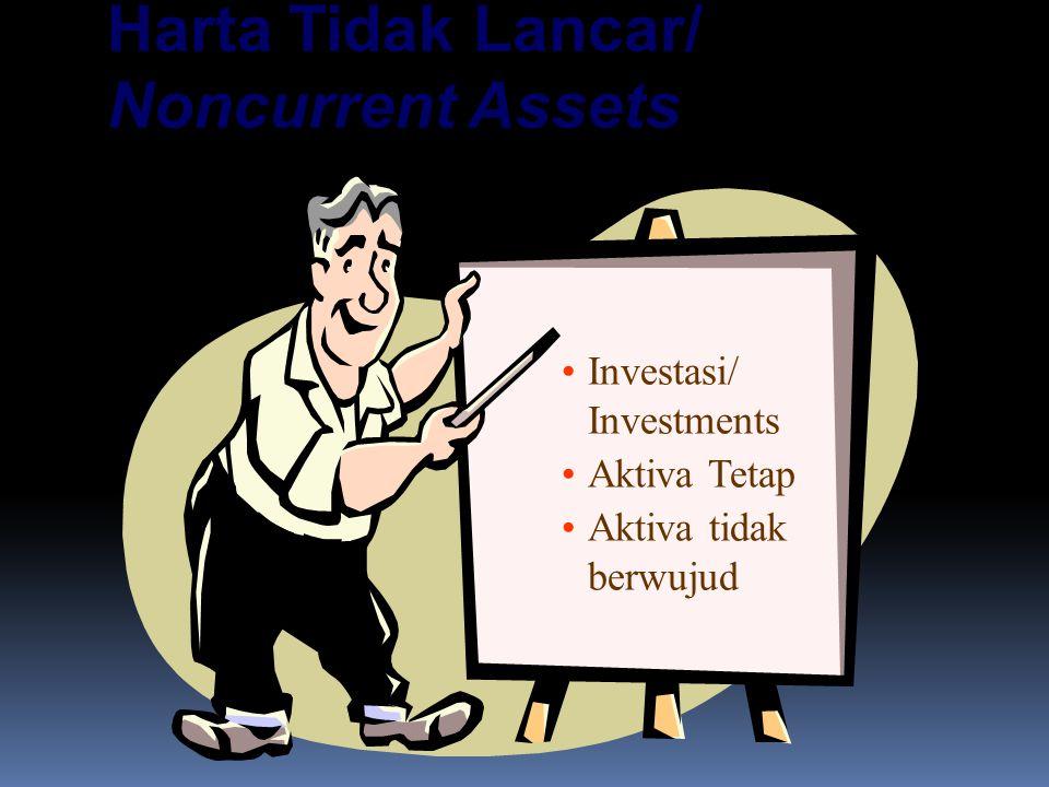 Harta Tidak Lancar/ Noncurrent Assets Investasi/ Investments Aktiva Tetap Aktiva tidak berwujud