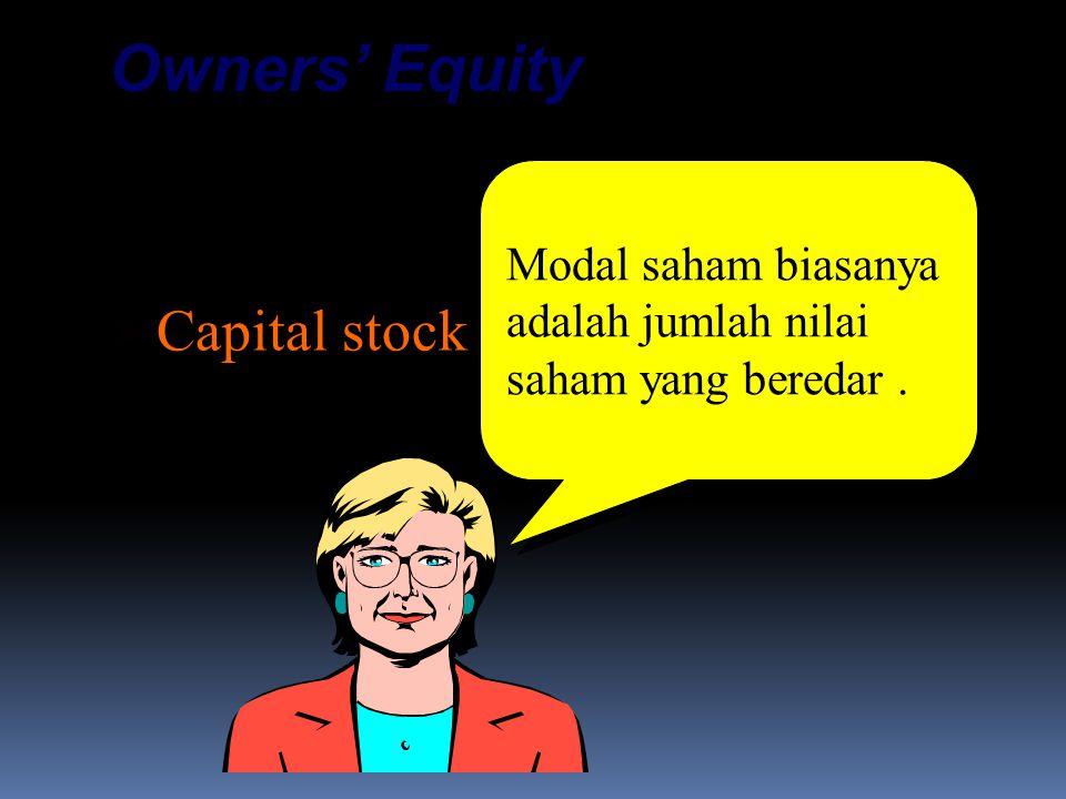 Contributed Capital:  Capital stock  Additional paid-in capital Owners' Equity Modal saham biasanya adalah jumlah nilai saham yang beredar.