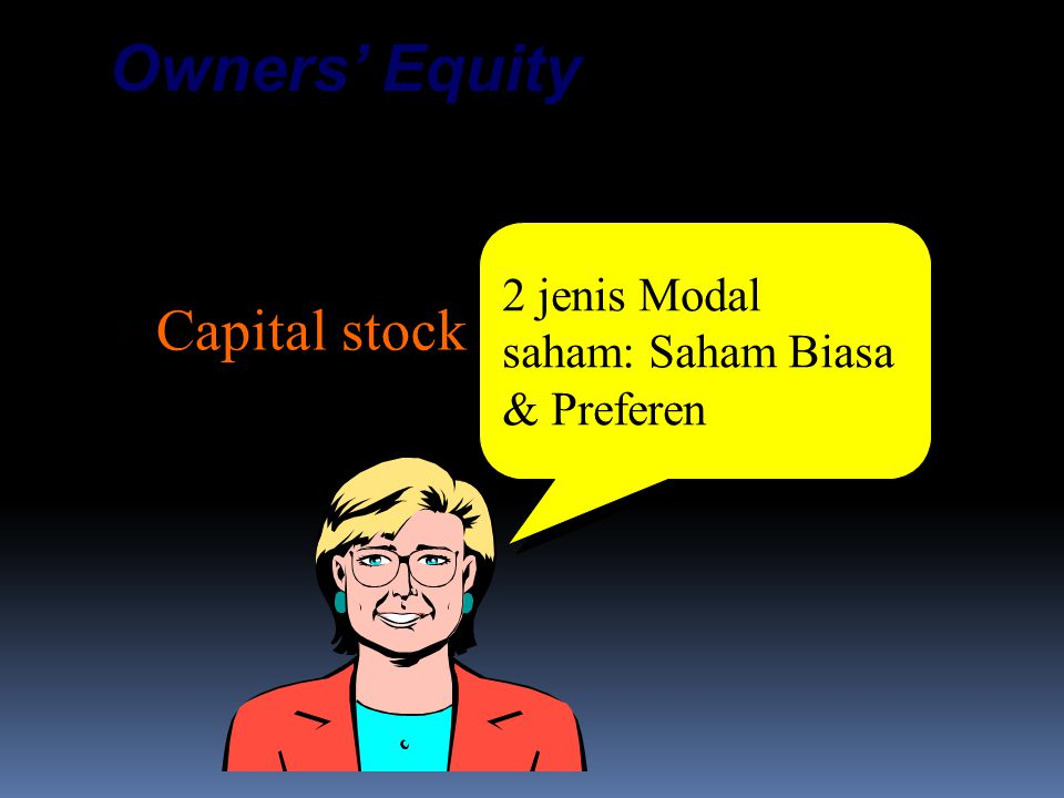 Contributed Capital:  Capital stock  Additional paid-in capital Owners' Equity 2 jenis Modal saham: Saham Biasa & Preferen