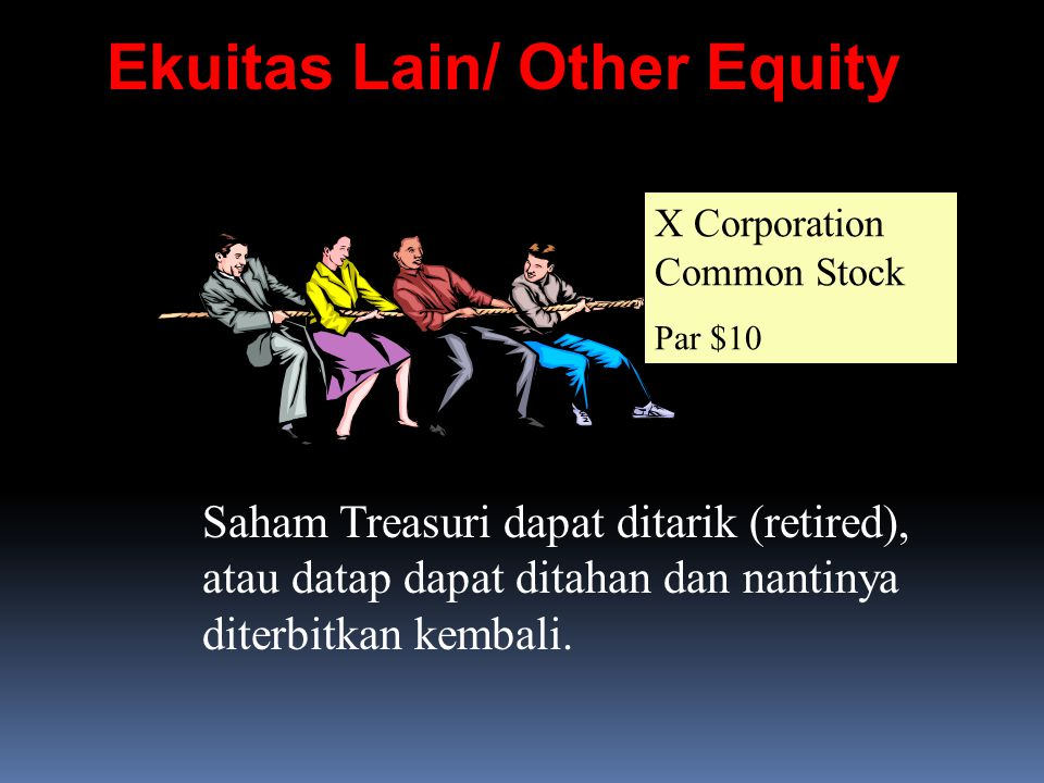 Ekuitas Lain/ Other Equity X Corporation Common Stock Par $10 Saham Treasuri dapat ditarik (retired), atau datap dapat ditahan dan nantinya diterbitka