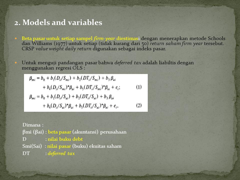 2. Models and variables Beta pasar untuk setiap sampel firm-year diestimasi dengan menerapkan metode Schools dan Williams (1977) untuk setiap (tidak k