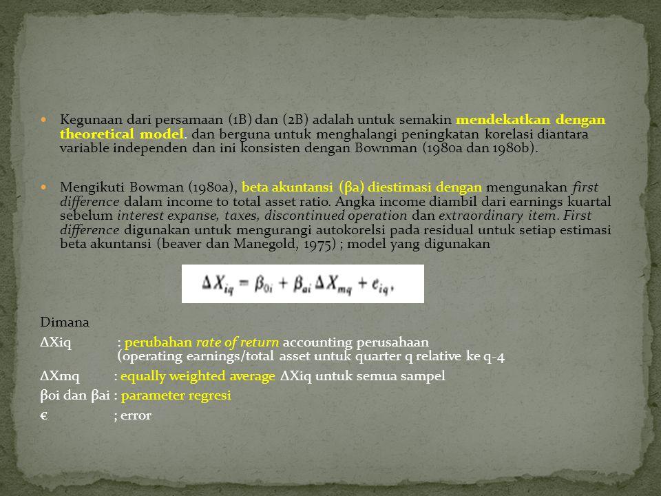 Kegunaan dari persamaan (1B) dan (2B) adalah untuk semakin mendekatkan dengan theoretical model.