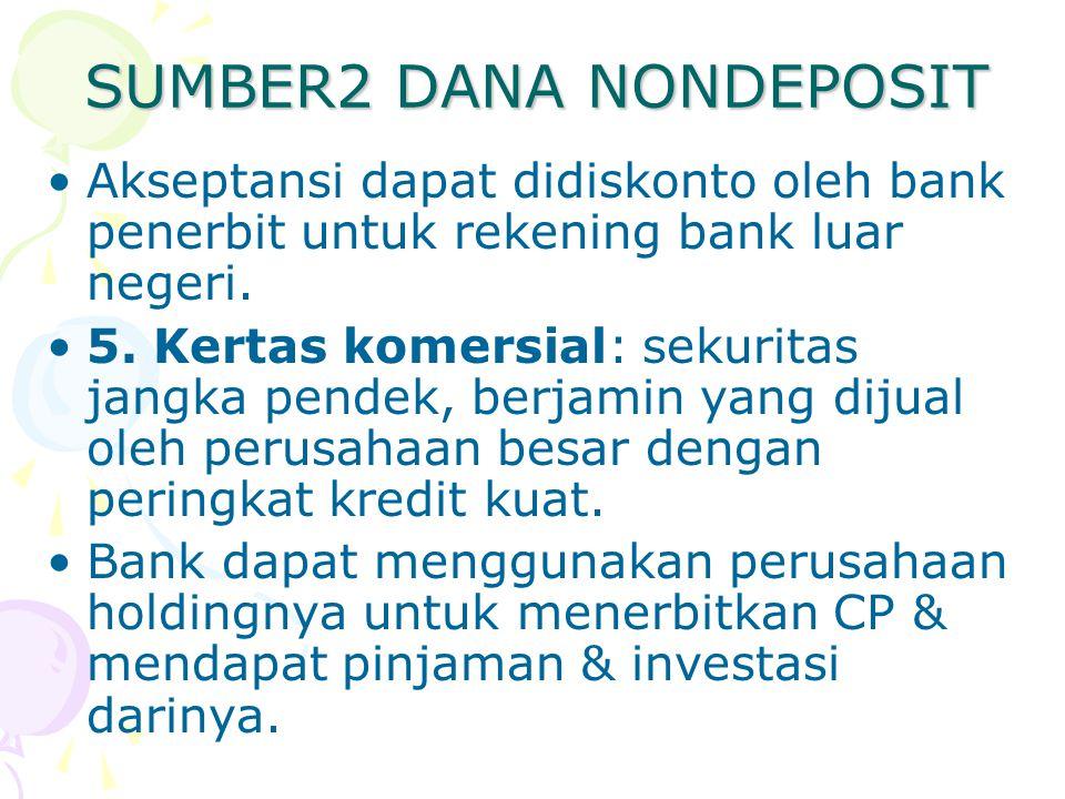 SUMBER2 DANA NONDEPOSIT Akseptansi dapat didiskonto oleh bank penerbit untuk rekening bank luar negeri. 5. Kertas komersial: sekuritas jangka pendek,