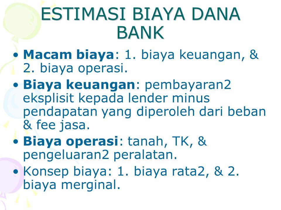 ESTIMASI BIAYA DANA BANK Macam biaya: 1. biaya keuangan, & 2. biaya operasi. Biaya keuangan: pembayaran2 eksplisit kepada lender minus pendapatan yang