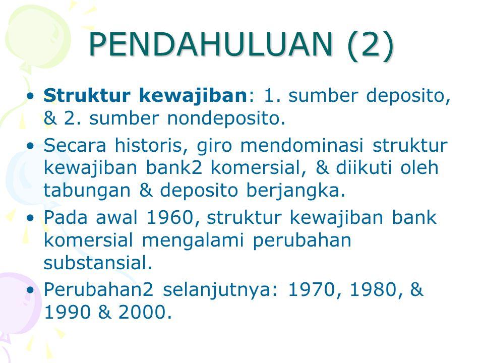 PENDAHULUAN (2) Struktur kewajiban: 1. sumber deposito, & 2. sumber nondeposito. Secara historis, giro mendominasi struktur kewajiban bank2 komersial,