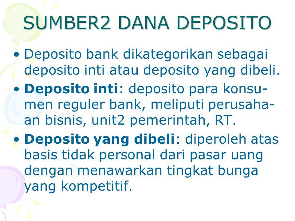 SUMBER2 DANA DEPOSITO Deposito bank dikategorikan sebagai deposito inti atau deposito yang dibeli. Deposito inti: deposito para konsu- men reguler ban
