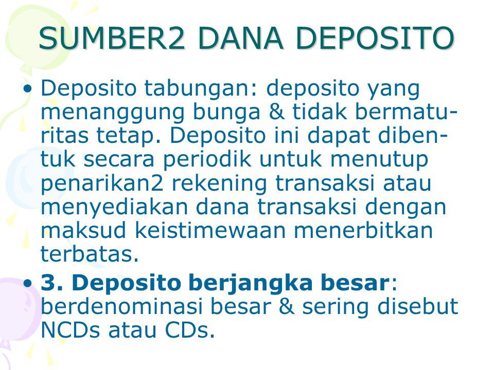 SUMBER2 DANA DEPOSITO Deposito tabungan: deposito yang menanggung bunga & tidak bermatu- ritas tetap. Deposito ini dapat diben- tuk secara periodik un
