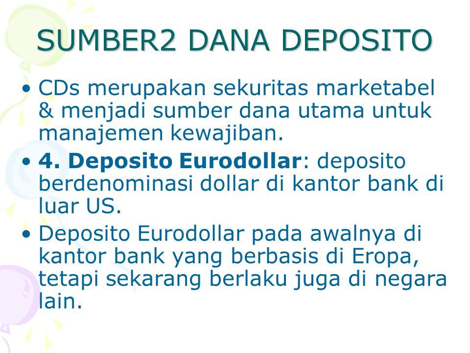 SUMBER2 DANA DEPOSITO CDs merupakan sekuritas marketabel & menjadi sumber dana utama untuk manajemen kewajiban. 4. Deposito Eurodollar: deposito berde