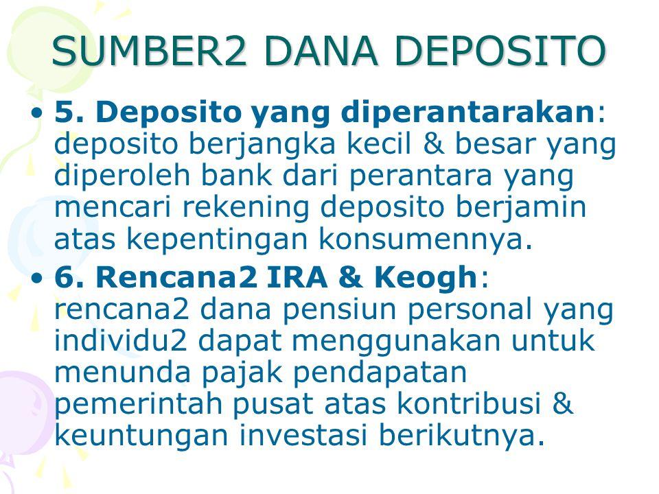 SUMBER2 DANA DEPOSITO 5. Deposito yang diperantarakan: deposito berjangka kecil & besar yang diperoleh bank dari perantara yang mencari rekening depos