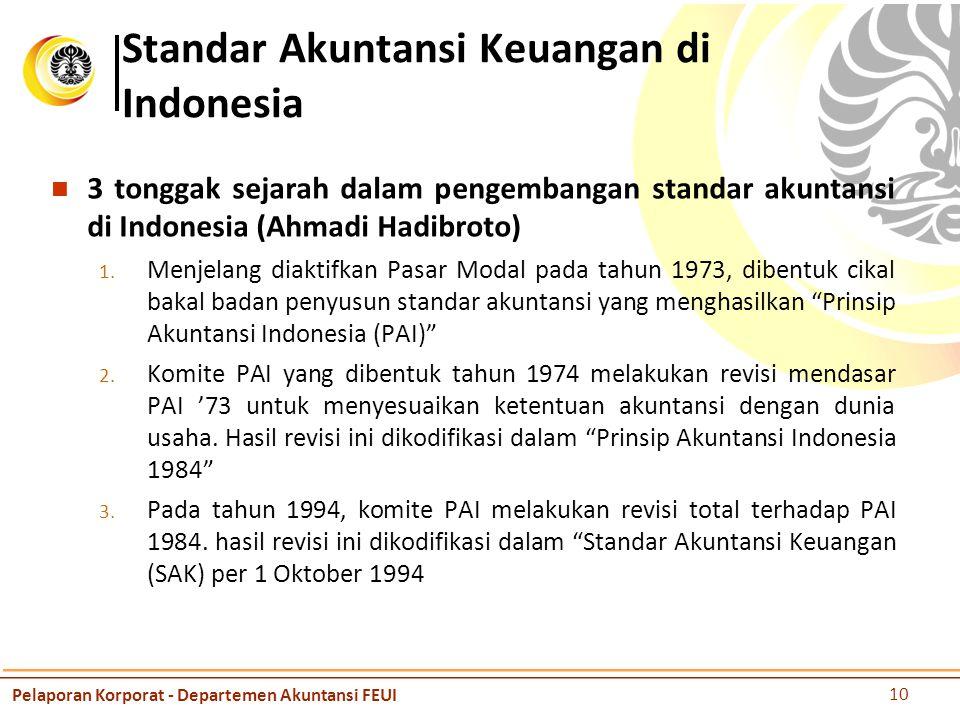 Standar Akuntansi Keuangan di Indonesia 3 tonggak sejarah dalam pengembangan standar akuntansi di Indonesia (Ahmadi Hadibroto) 1.