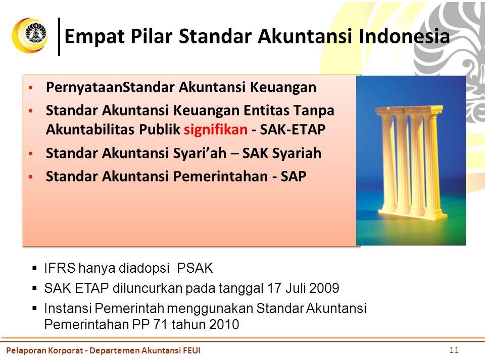 Empat Pilar Standar Akuntansi Indonesia  PernyataanStandar Akuntansi Keuangan  Standar Akuntansi Keuangan Entitas Tanpa Akuntabilitas Publik signifikan - SAK-ETAP  Standar Akuntansi Syari'ah – SAK Syariah  Standar Akuntansi Pemerintahan - SAP  PernyataanStandar Akuntansi Keuangan  Standar Akuntansi Keuangan Entitas Tanpa Akuntabilitas Publik signifikan - SAK-ETAP  Standar Akuntansi Syari'ah – SAK Syariah  Standar Akuntansi Pemerintahan - SAP  IFRS hanya diadopsi PSAK  SAK ETAP diluncurkan pada tanggal 17 Juli 2009  Instansi Pemerintah menggunakan Standar Akuntansi Pemerintahan PP 71 tahun 2010 Pelaporan Korporat - Departemen Akuntansi FEUI 11