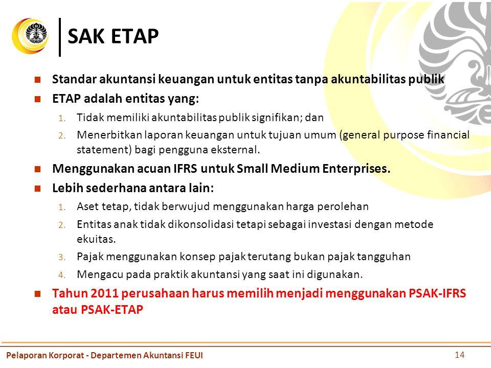 SAK ETAP Standar akuntansi keuangan untuk entitas tanpa akuntabilitas publik ETAP adalah entitas yang: 1.
