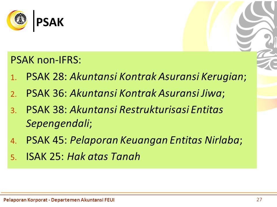 PSAK PSAK non-IFRS: 1.PSAK 28: Akuntansi Kontrak Asuransi Kerugian; 2.