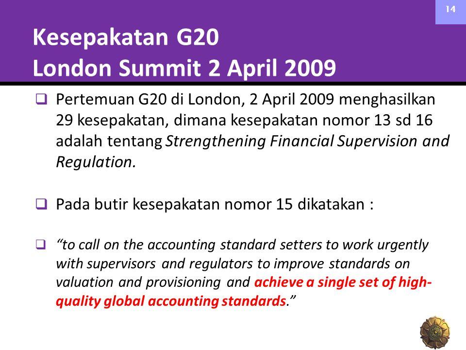 Kesepakatan G20 London Summit 2 April 2009 14  Pertemuan G20 di London, 2 April 2009 menghasilkan 29 kesepakatan, dimana kesepakatan nomor 13 sd 16 a