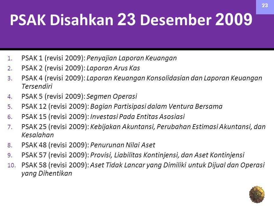 PSAK Disahkan 23 Desember 2009 1. PSAK 1 (revisi 2009): Penyajian Laporan Keuangan 2. PSAK 2 (revisi 2009): Laporan Arus Kas 3. PSAK 4 (revisi 2009):