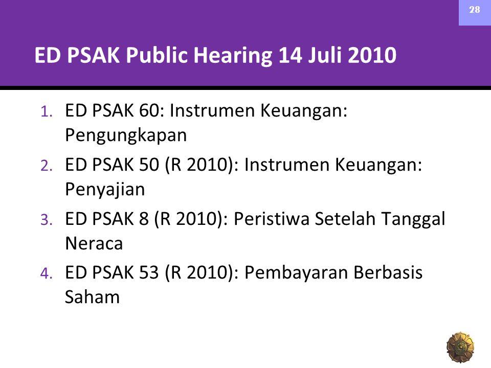 ED PSAK Public Hearing 14 Juli 2010 1. ED PSAK 60: Instrumen Keuangan: Pengungkapan 2. ED PSAK 50 (R 2010): Instrumen Keuangan: Penyajian 3. ED PSAK 8