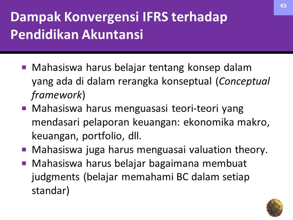 Dampak Konvergensi IFRS terhadap Pendidikan Akuntansi  Mahasiswa harus belajar tentang konsep dalam yang ada di dalam rerangka konseptual (Conceptual