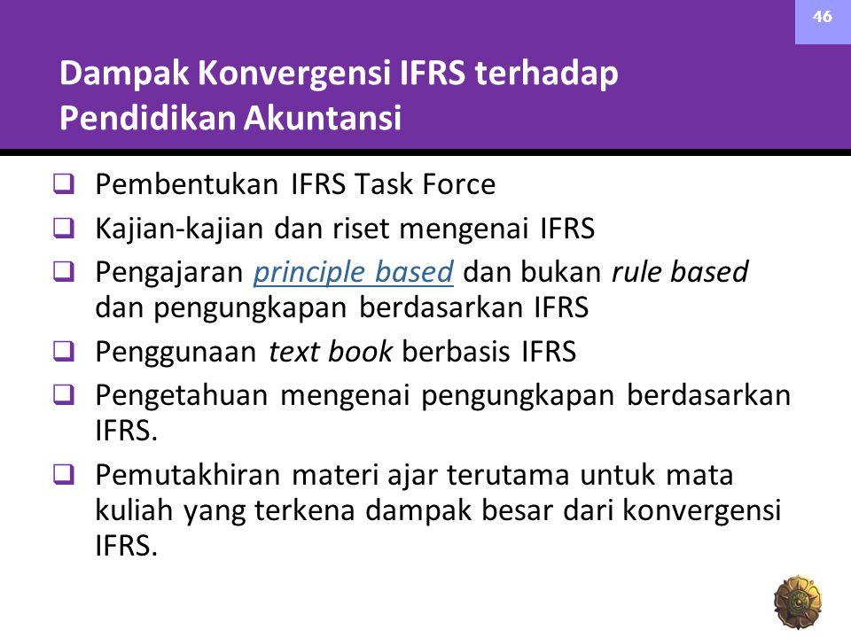 Dampak Konvergensi IFRS terhadap Pendidikan Akuntansi  Pembentukan IFRS Task Force  Kajian-kajian dan riset mengenai IFRS  Pengajaran principle based dan bukan rule based dan pengungkapan berdasarkan IFRSprinciple based  Penggunaan text book berbasis IFRS  Pengetahuan mengenai pengungkapan berdasarkan IFRS.