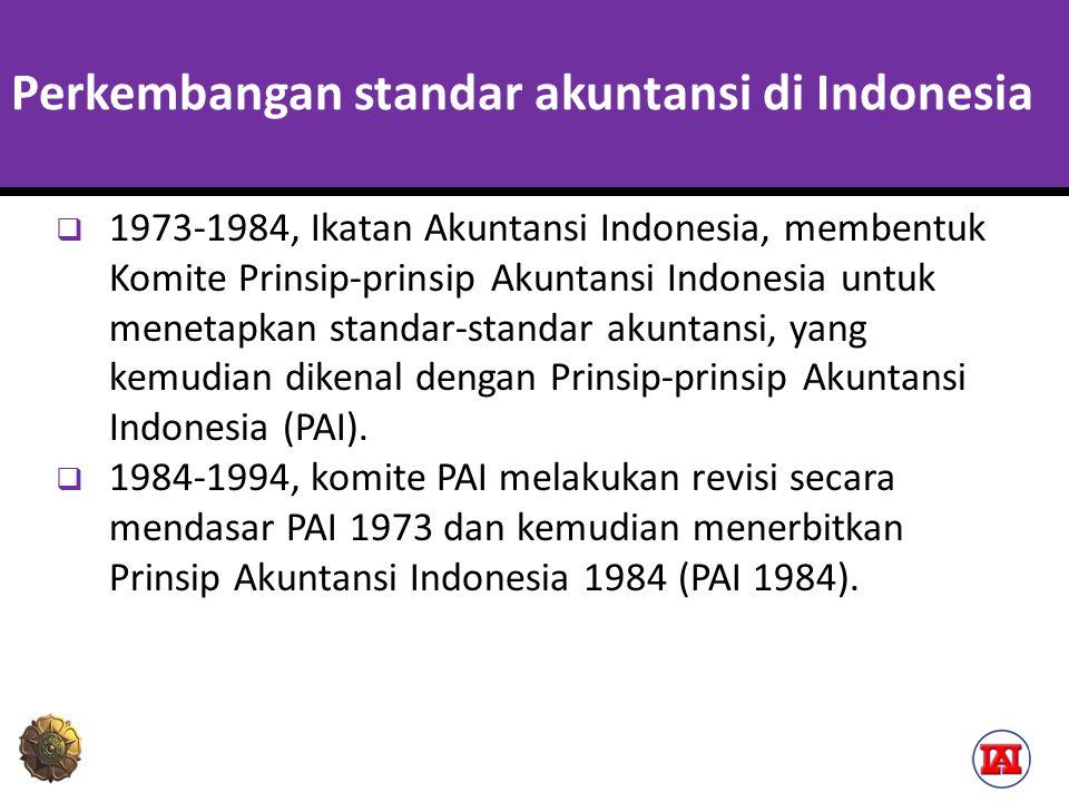 Perkembangan standar akuntansi di Indonesia  1973-1984, Ikatan Akuntansi Indonesia, membentuk Komite Prinsip-prinsip Akuntansi Indonesia untuk menetapkan standar-standar akuntansi, yang kemudian dikenal dengan Prinsip-prinsip Akuntansi Indonesia (PAI).