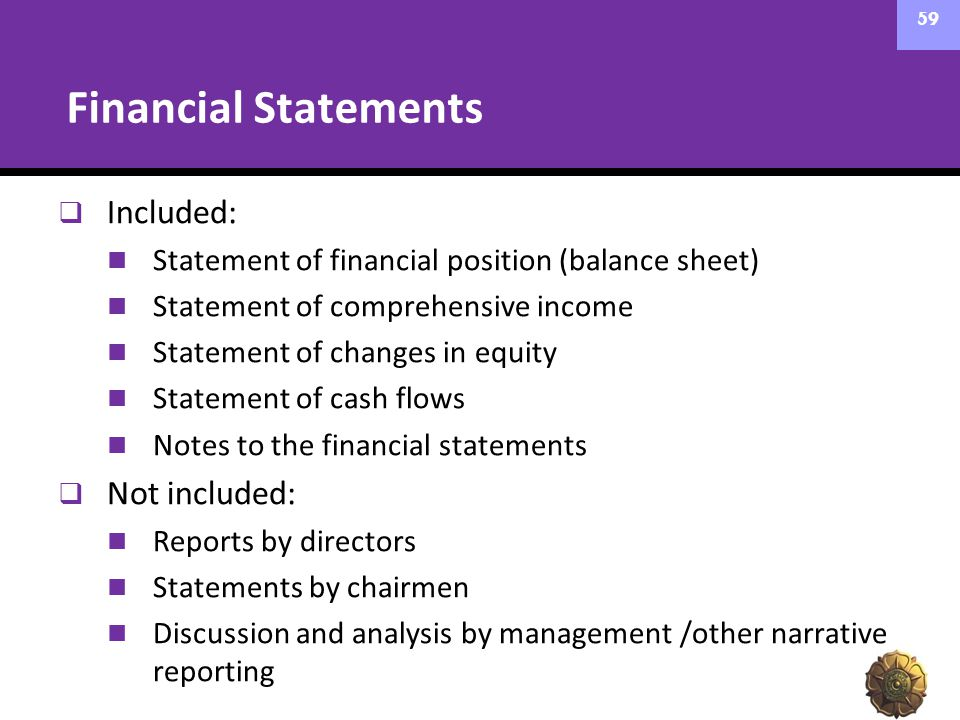 Financial Statements  Included: Statement of financial position (balance sheet) Statement of comprehensive income Statement of changes in equity Stat
