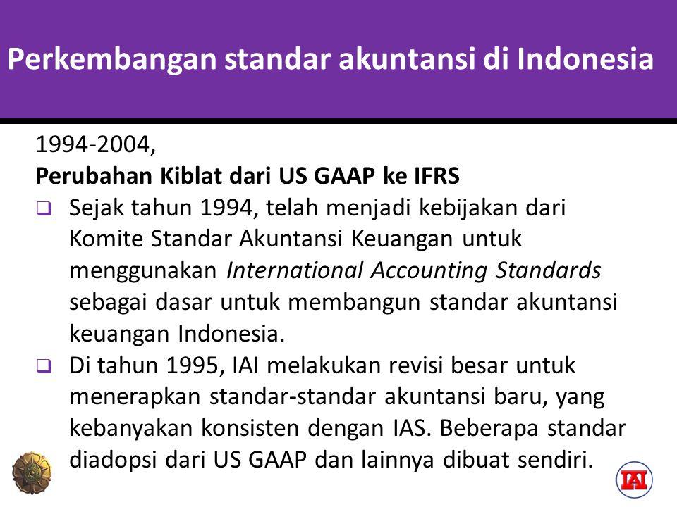 Perkembangan standar akuntansi di Indonesia 1994-2004, Perubahan Kiblat dari US GAAP ke IFRS  Sejak tahun 1994, telah menjadi kebijakan dari Komite S