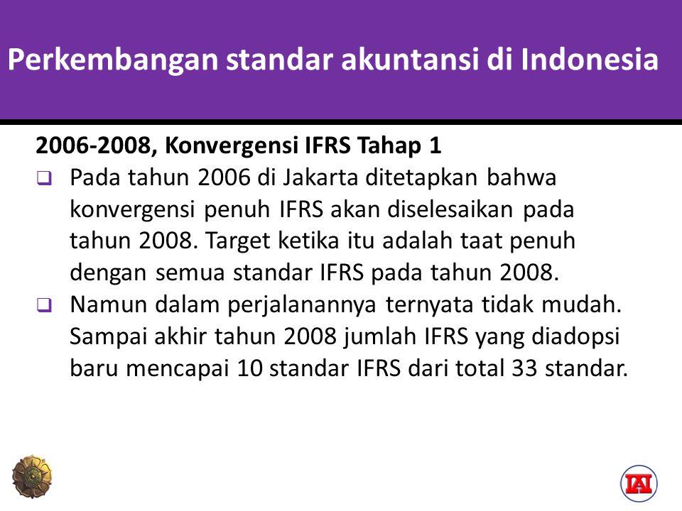 Perkembangan standar akuntansi di Indonesia Kendala dalam harmonisasi PSAK ke dalam IFRS  Dewan Standar Akuntansi yang kekurangan sumber daya  IFRS berganti terlalu cepat sehingga ketika proses adopsi suatu standar IFRS masih dilakukan, pihak IASB sudah dalam proses mengganti IFRS tersebut.